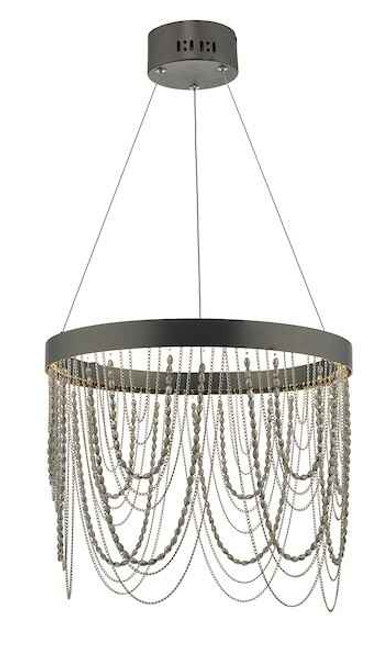 Roella Satin Bronze with Crystal LED Ring Pendant Light