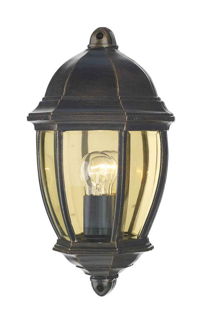 Newport Black Gold IP43 Outdoor Wall Light