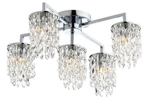 Niagra 5 Light Polished Chrome Clear Crystal Flush Ceiling Light