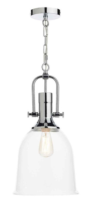 Nolan Polished Chrome Clear Bell Glass Pendant Light