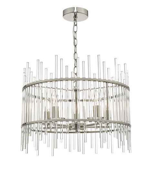Olyn 5 Light Polished Nickel & Glass Pendant Light