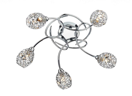 Numero 5 Light Polished Chrome Semi Flush Ceiling Light