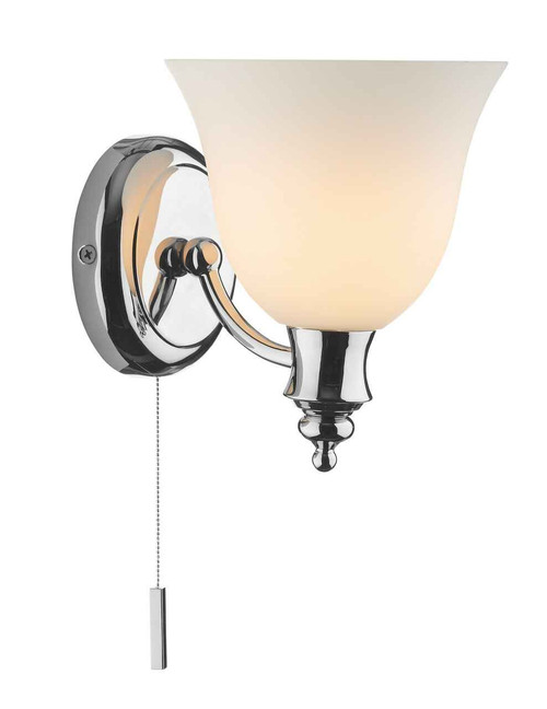 Oboe Polished Chrome IP44 Single Bathroom Wall Light