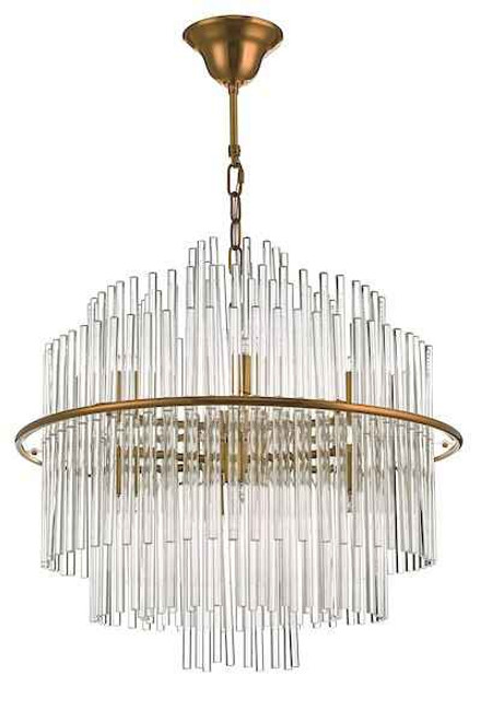 Lukas 13 Light Brushed Antique Gold and Glear Glass Pendant Light