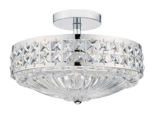 Olona 3 Light Polished Chrome Crystal Beads and Glass Diffuser Semi Flush Ceiling