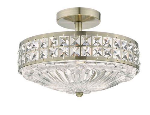 Olona 3 Light Antique Brass Crystal Beads and Glass Diffuser Semi Flush Ceiling