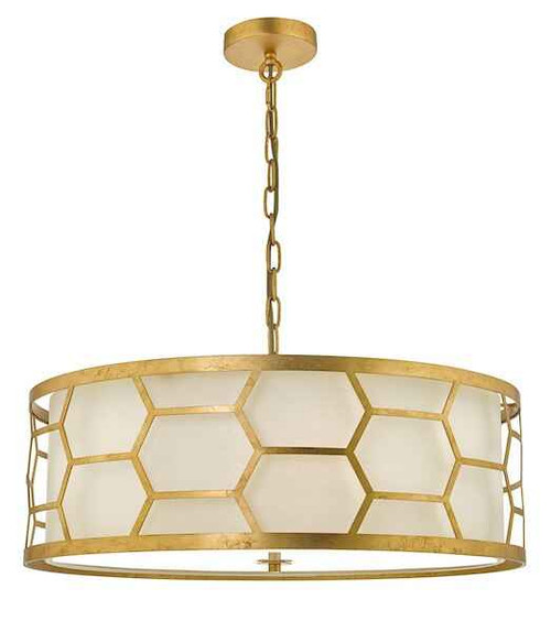 Epstein 4 Light Gold Leaf and Ivory Linen Shade Pendant Light
