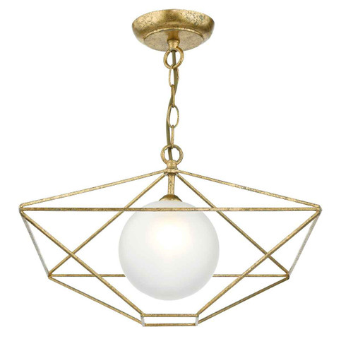 Orsini 1 Light Antique Gold with Opal Glass Shade Pendant Light