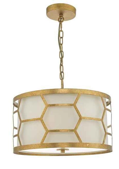Epstein 3 Light Gold Leaf and Ivory Linen Shade Pendant Light