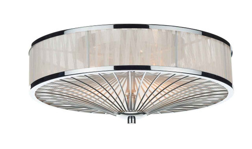 Oslo 3 Light Polished Chrome White Flush Ceiling Light