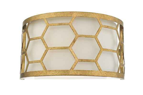 Epstein Gold Leaf and Ivory Linen Shade Wall Light