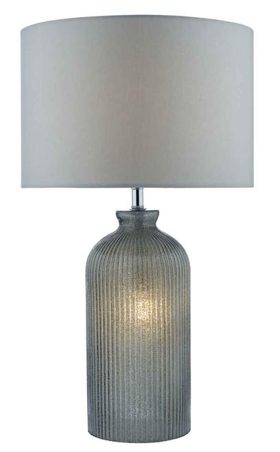 Pamplona Grey Glass 2 Light with Grey Faux Silk Shade Table Lamp