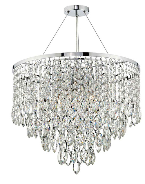Pescara 5 Light Polished Chrome and Crystal Round Pendant Light