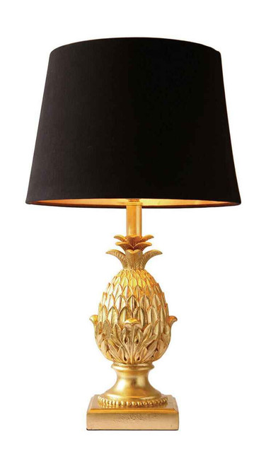 Pineapple with Black Gold Shade Table Lamp