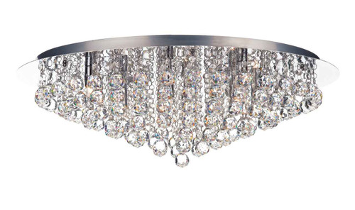 Pluto 8 Light Polished Chrome Crystal Glass Flush Ceiling Light
