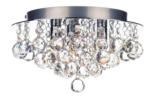 Pluto 3 Light Polished Chrome Crystal Glass Flush Ceiling Light