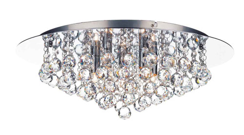 Pluto 5 Light Polished Chrome Crystal Glass Flush Ceiling Light