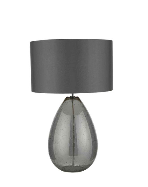 Rain Smoked Glass with Grey Shade Table Lamp
