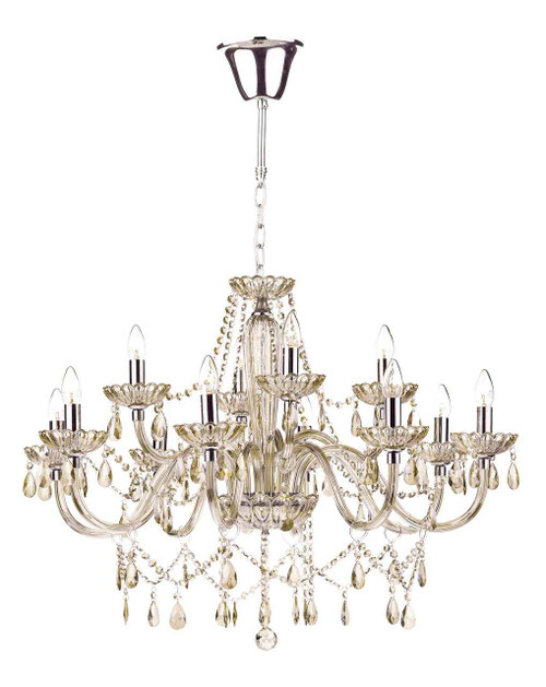 Raphael 12 Light Champagne Glass Crystal Chandelier