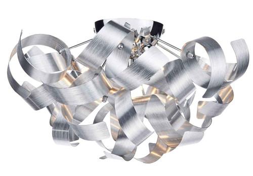 Rawley 4 Light Brushed Aluminium Metal Ribbon Flush Ceiling Light