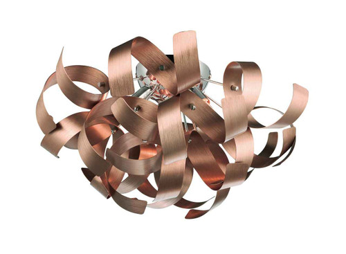 Rawley 4 Light Brushed Copper Metal Ribbon Flush Ceiling Light