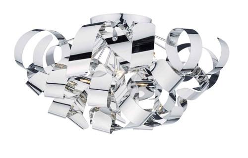 Rawley 5 Light Polished Chrome Metal Ribbon Flush Ceiling Light