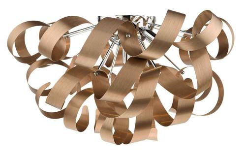 Rawley 5 Light Brushed Copper Metal Ribbon Flush Ceiling Light