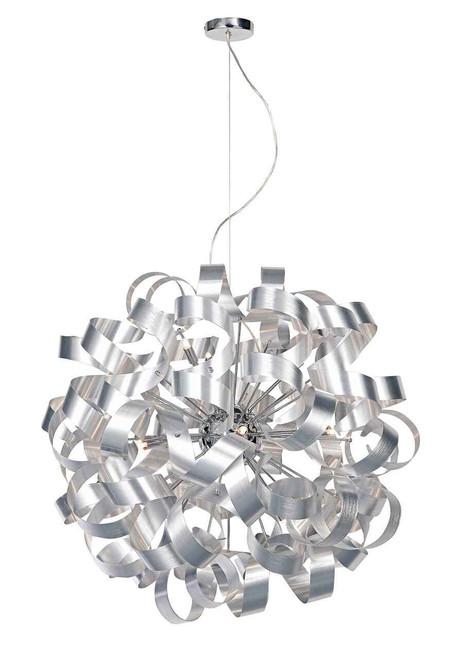Rawley 12 Light Brushed Aluminium Metal Ribbon Pendant Light