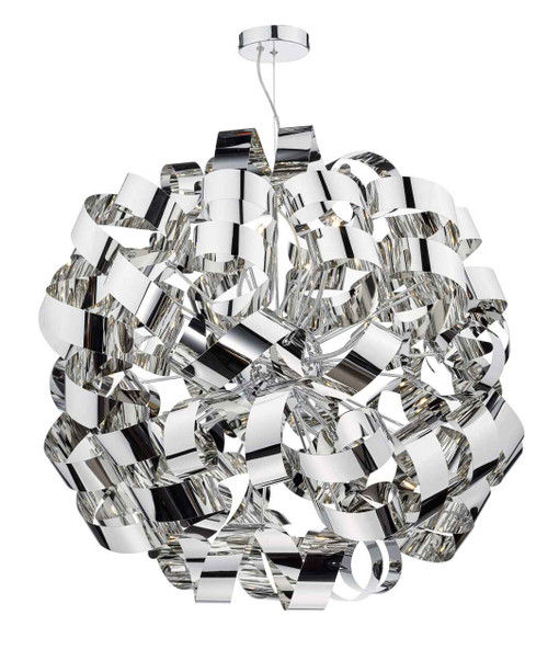 Rawley 12 Light Polished Chrome Metal Ribbon Pendant Light