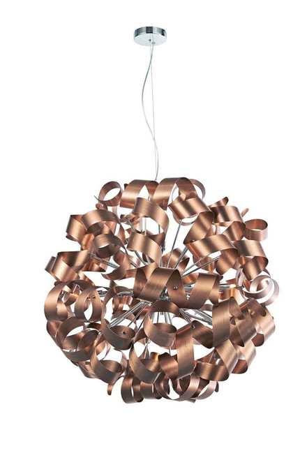 Rawley 12 Light Brushed Copper Metal Ribbon Pendant Light