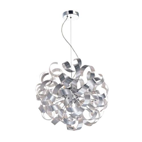 Rawley 9 Light Brushed Aluminium Metal Ribbon Pendant Light