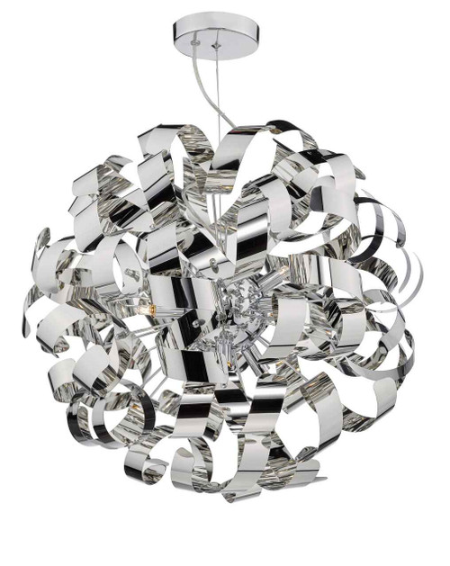 Rawley 9 Light Polished Chrome Metal Ribbon Pendant Light