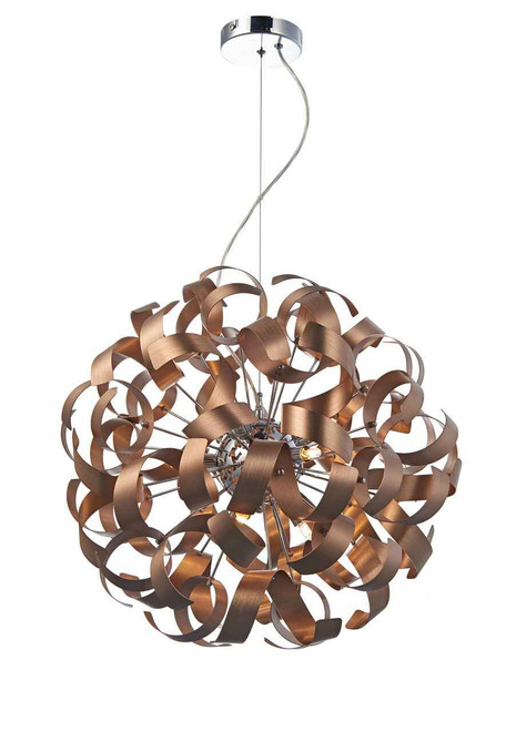 Rawley 9 Light Brushed Copper Metal Ribbon Pendant Light