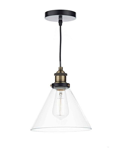 Ray 1 Light Antique Brass and Clear Glass Pendant Light