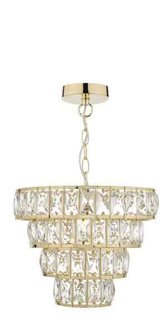 Cerys 4 Tier Crystal & Gold Pendant Light