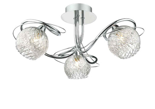 Rehan 3 Light Polished Chrome and Glass Semi Flush Ceiling Light