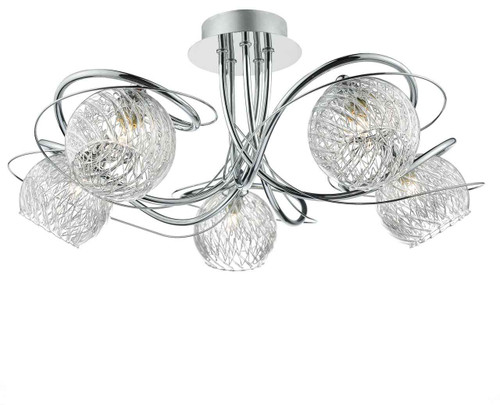 Rehan 5 Light Polished Chrome and Glass Semi Flush Ceiling Light