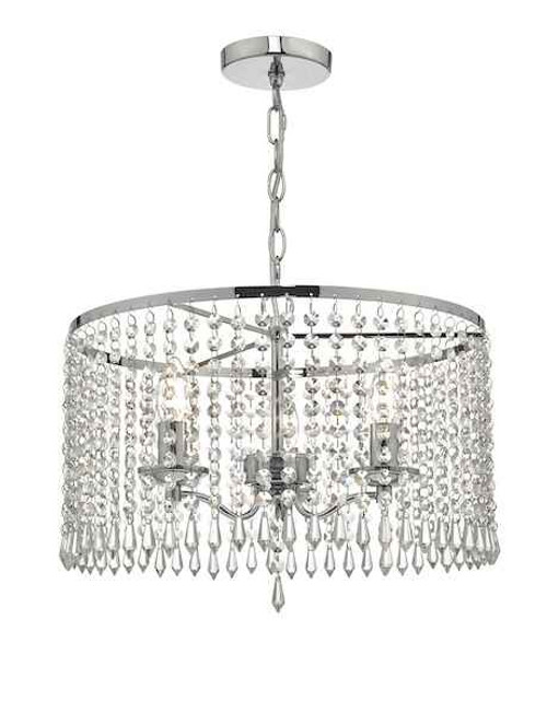 Jocelyn 3 Light Polished Chrome & Crystal Pendant Light