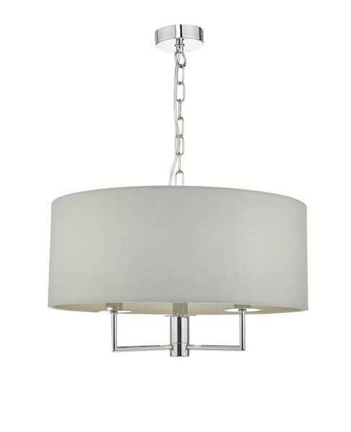 Jamelia 3 Light Polished Chrome & Grey Fabric Shade Pendant Light