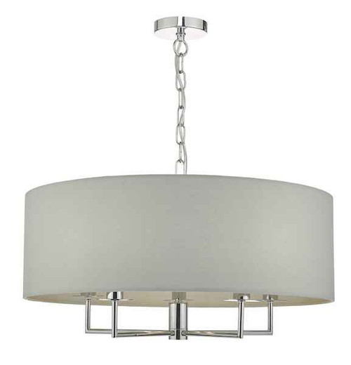 Jamelia 5 Light Polished Chrome & Grey Fabric Shade Pendant light