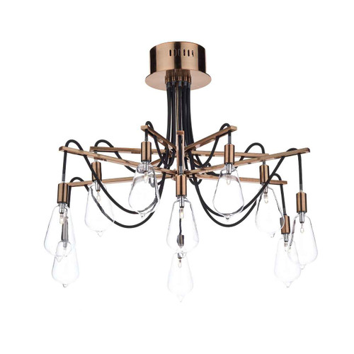 Scroll 10 Light Copper Semi Flush Pendant Light
