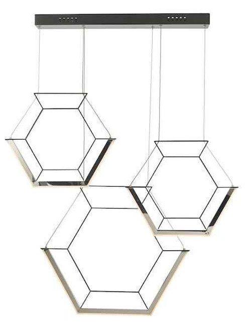 Hexagon 3 Light Black LED Pendant Light