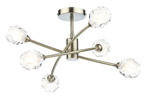Seattle 6 Light Antique Brass Semi Flush Pendant Light
