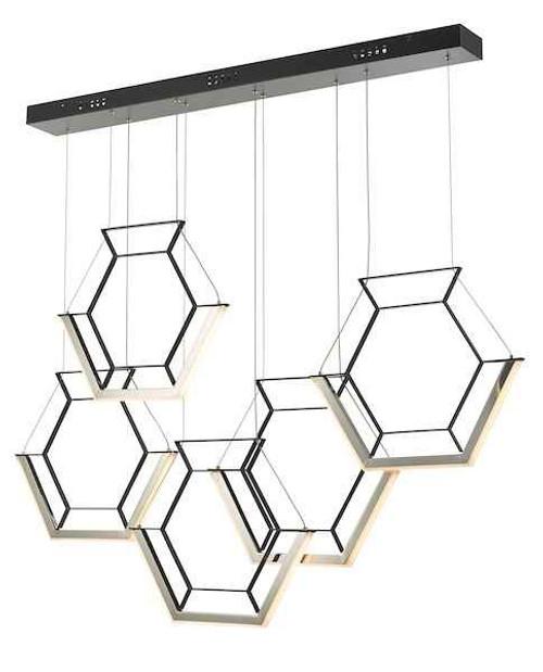 Hexagon 5 Light Black LED Pendant Light