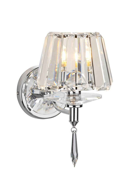 Selina Polished Chrome and Crystal Glass Single Wall Light