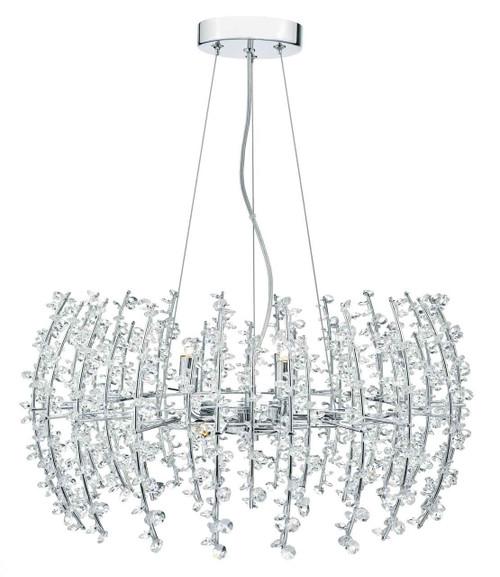 Sestina 6 Light Crystal Beads Chrome Frame Pendant Light