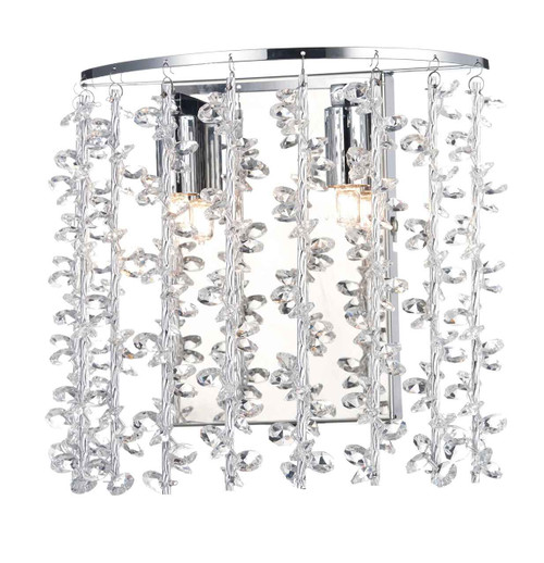 Sestina 2 Light Decorative Rods with Crystal Beads Wall Light