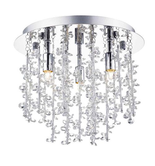 Sestina 3 Light Decorative Rods with Crystal Beads Flush Ceiling Light