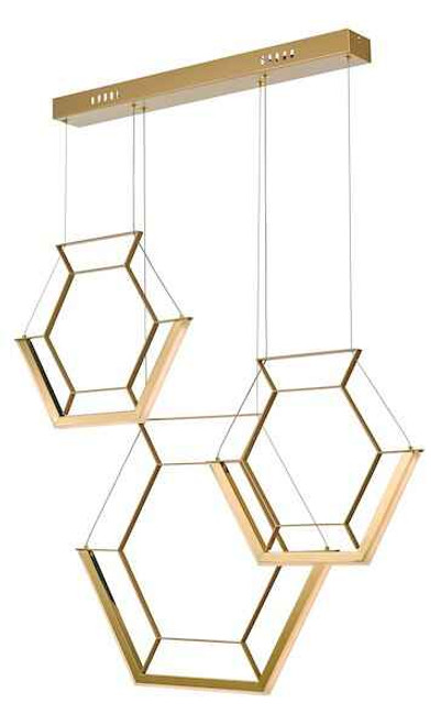 Hexagon 3 Light Gold LED Pendant Light