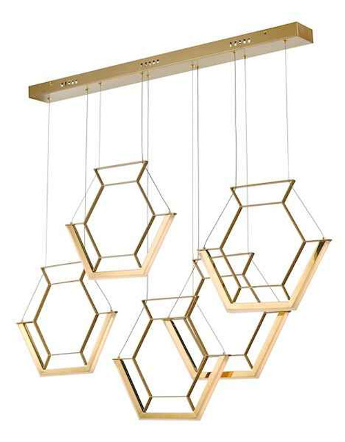 Hexagon 5 Light Gold LED Pendant Light